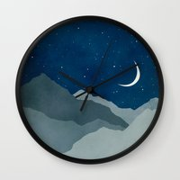 starry night Wall Clocks featuring Starry Night by Eve Sand