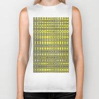 yellow pattern Biker Tanks featuring Yellow fractal pattern. by Assiyam