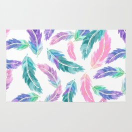 Pastel pink turquoise hand painted watercolor feathers pattern Rug