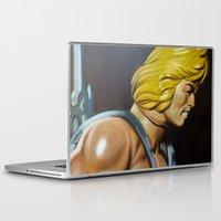 he man Laptop & iPad Skins featuring HE-MAN by John McGlynn