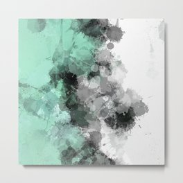 Mint Green Paint Splatter Abstract Metal Print