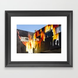 Flames on the Wall - Street Art Vancouver BC Framed Art Print