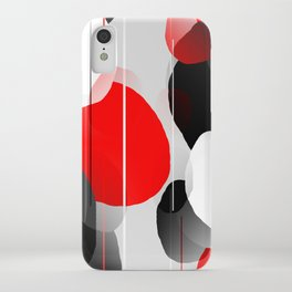 Modern Anxiety Abstract - Red, Black, Gray iPhone Case