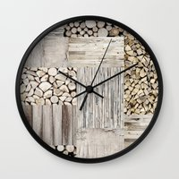 wood Wall Clocks featuring Wood by LebensART