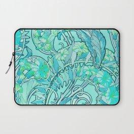 "Alphonse Mucha ""Convolvulus"" edited turquoise Laptop Sleeve"