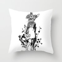 moose Throw Pillows featuring MOOSE by TOO MANY GRAPHIX
