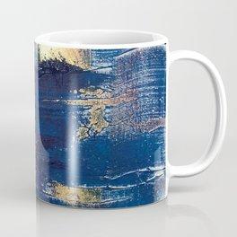 Halo [2]: a minimal, abstract mixed-media piece in blue and gold by Alyssa Hamilton Art Coffee Mug