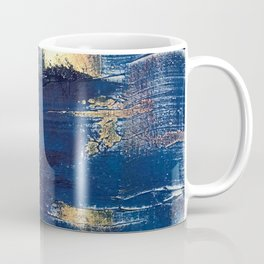 Halo [2]: a minimal, abstract mixed-media piece in blue and gold by Alyssa Hamilton Art Coffee Mug