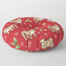 English Bulldog on Christmas Day Floor Pillow