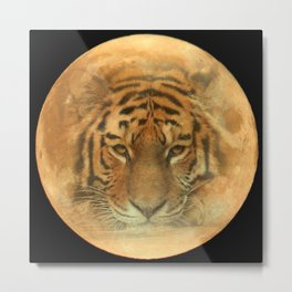 The Tiger In The Moon Metal Print