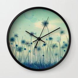 Whimsical Indigo Dandelion Flower Garden Wall Clock