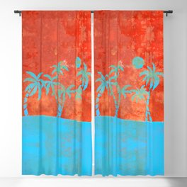 Tropical sunset with blue palm trees Blackout Curtain