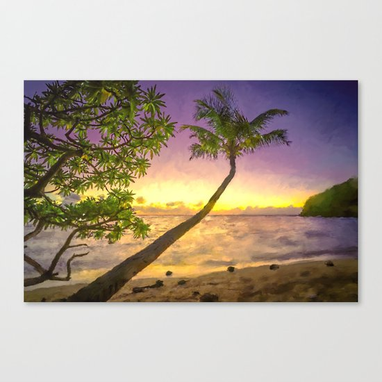 Tropical sunset beach with palms Canvas Print