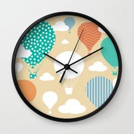 Hot air balloon neutral Wall Clock
