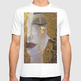 Freya's Tears - Starry Night (Golden Tears) portrait painting by Gustav Klimt T-shirt