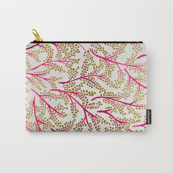 Pink & Gold Branches Carry-All Pouch