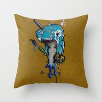 narwhal Throw Pillows featuring Narwhal by Mowgli Tattoo