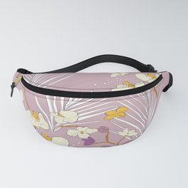 Orchid and palm leaves Fanny Pack