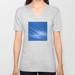 Ivory Strands of Clouds in Bright Blue Sky Unisex V-Neck