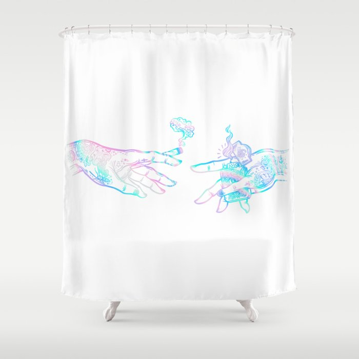 the creation of weed- holographic Shower Curtain