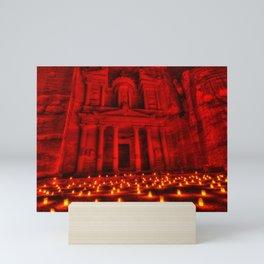 Nabatean Kingdom Petra 'Treasury' Ruins Rose City by Night Candle Ceremony Mini Art Print