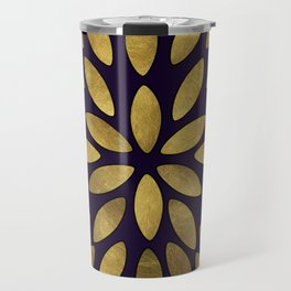 Classic Golden Flower Leaves Pattern Travel Mug