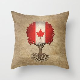 Vintage Tree of Life with Flag of Canada Throw Pillow