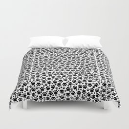 Dog Paws, Traces, Paw-prints - White Black Duvet Cover