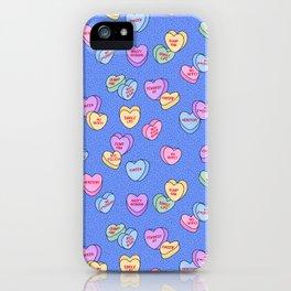 Feminist Valentine Candy Hearts in Blue, Dump Him iPhone Case