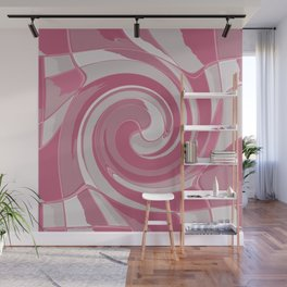 Spiral in Pink and White Wall Mural
