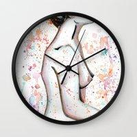 splatter Wall Clocks featuring Splatter. by Norikk