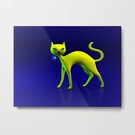 The Yellow Cat And Glass Blue Cherry Metal Print
