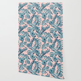 Island Life Teal on Light Pink Wallpaper
