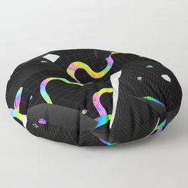 Glitchy Pixelated Snake Floor Pillow