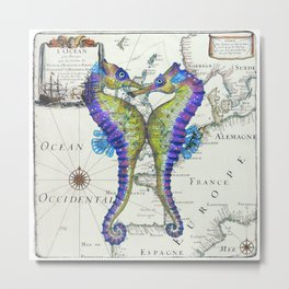 Blue Seahorse Kiss Metal Print