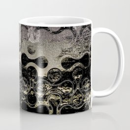 Distressed Silver Gold Multi Pattern Abstract Coffee Mug