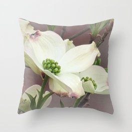 Dogwood Tree Spring Flowers A447 Throw Pillow