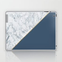 Elegant mauve blue white marble faux gold geometric Laptop & iPad Skin