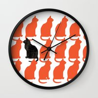 contemporary Wall Clocks featuring CATTERN SERIES 2 by Catspaws