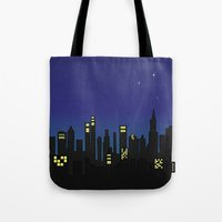 cityscape Tote Bags featuring Cityscape by Jozi