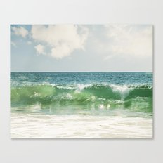 Ocean Sea Landscape Photography, Seascape Waves, Blue Green Wave Photograph Canvas Print