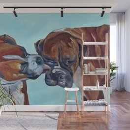Kissing Boxers Dogs Portrait Wall Mural