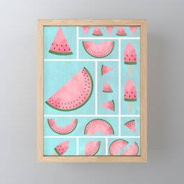 Watermelon Grids Framed Mini Art Print