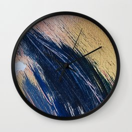 Rise: an abstract mixed-media landscape in blue pink and gold by Alyssa Hamilton Art Wall Clock