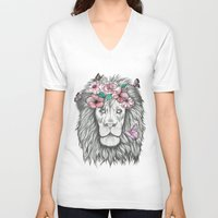 the lion king V-neck T-shirts featuring Lion King by Sorasoraya