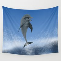 the dude Wall Tapestries featuring Surfin' Dude by Petellgra
