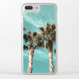 Tropical Palm Tree Photography {1 of 2} | Teal Blue Sky Wind Blown Clouds Clear iPhone Case