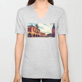 Cracow Main Square Old Town Unisex V-Neck