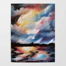 Moody Sunset, Dark Sunset, Abstract Sunset, Seascape, Sunscape, Skyscape Poster
