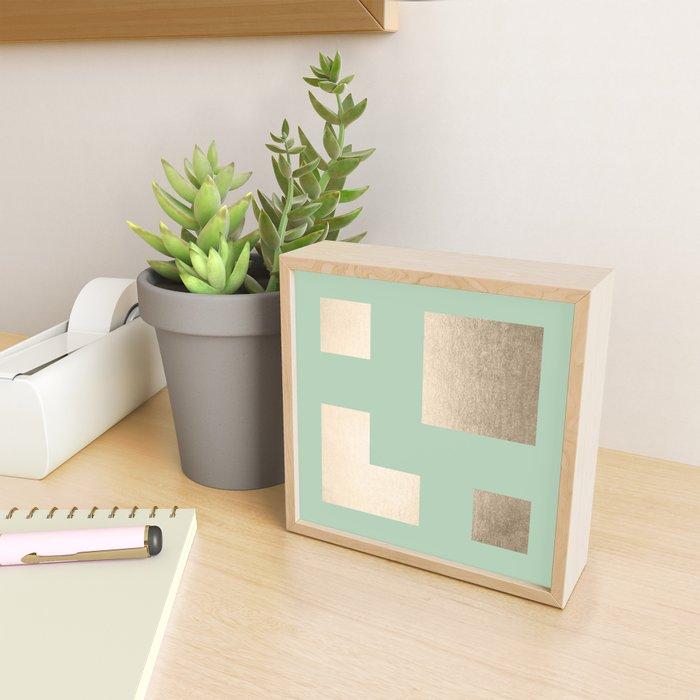 Simply Geometric White Gold Sands on Pastel Cactus Green Framed Mini Art Print